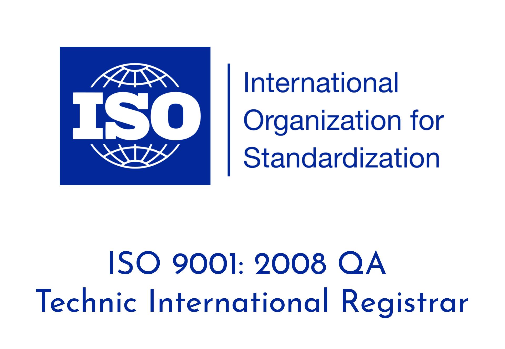 ISO 9001 2008 QA Technic International Registrar